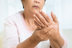 hand pain of old woman, healthcare problem of senior concept