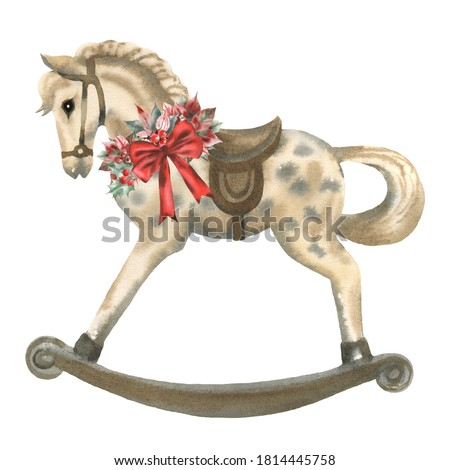 Hand paint watercolor vintage illustration of rocking horse with poinsettia, holly, red bow and berries on white background. Perfect for invitations, greeting cards, print and other design. Photo stock ©