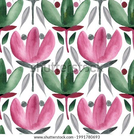 Hand painted abstract watercolor floral seamless pattern. Flowers  n purple and green. Stock fotó ©