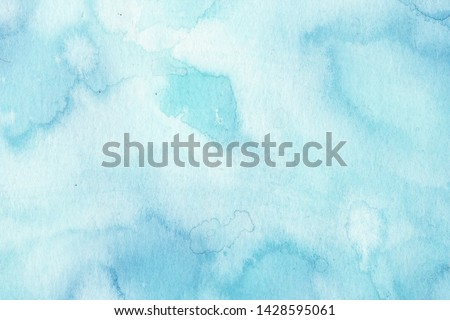 Hand painted abstract Watercolor Wet turquoise Background with stains. Watercolor wash. Abstract painting. design for invitation, greeting card, wedding. empty space for text