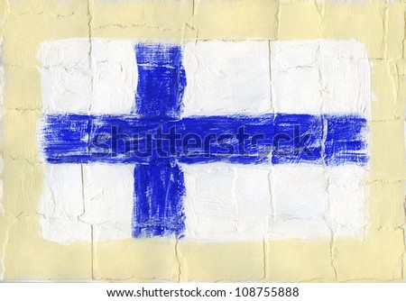 Hand painted acrylic flag of Finland