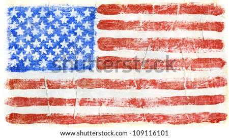 Hand painted acrylic United States of America flag