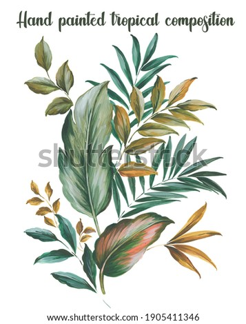 hand painted artistic botanical tropical foliage motifs with leaves. Hawaiian compositions.