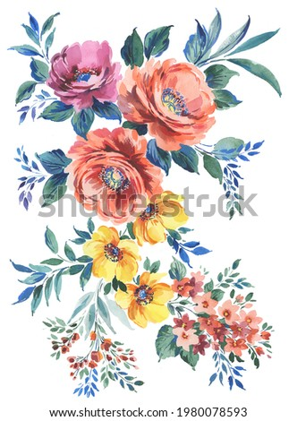 hand painted artistic set with colorful lush flowers. watercolor artistic set with peony flowers, smaller wild flowers and leaves. Multicolor bouquet.