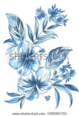hand painted artistic set with loose painted watercolor flowers and leaves with black linear outline. Hibiscus and frangipani flowers with palm and monstera leaves on white background. tropical set
