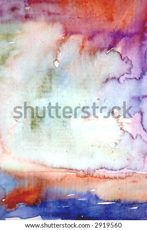Hand painted background on watercolor paper with visible brush strokes and paint grain - stock photo