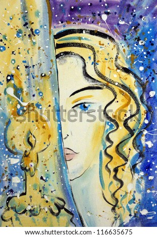 Hand painted beautiful blonde girl with a burning candle - stock photo