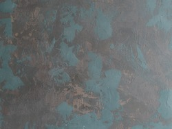 Hand painted black background abstract oil pained canvas with blue, brown and green brush strokes