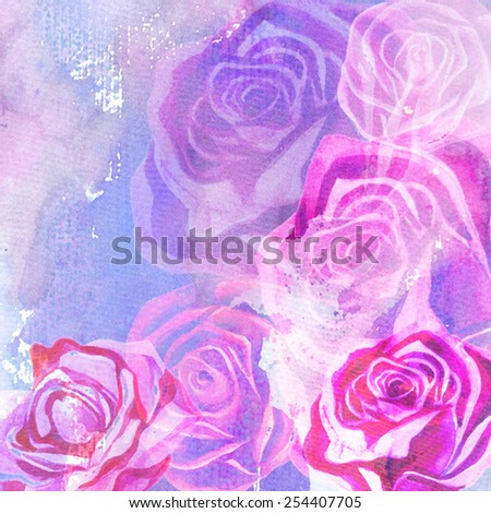 hand painted blue pink roses background