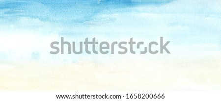 Hand painted blue sky and yellow abstract watercolor background. Hand drawn grunge backdrop for banner, greeting card, website, invitation, celebration 商業照片 ©