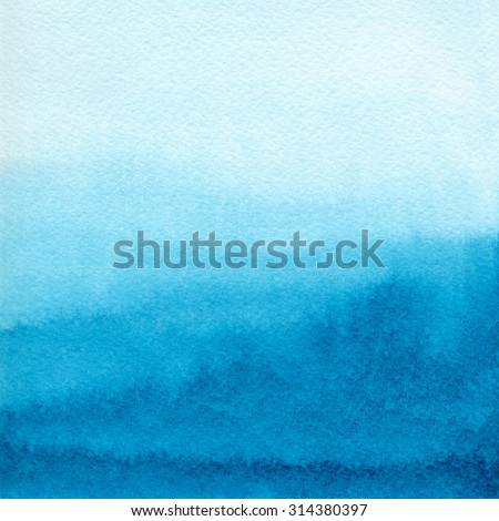 Hand painted blue watercolor background. Watercolor wash