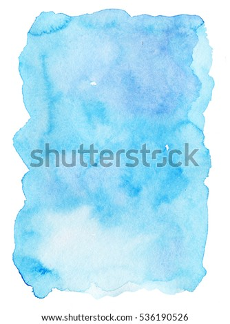 Hand painted bright blue watercolor texture on white background #536190526