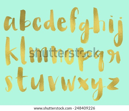 Hand Painted Brush Lettered Alphabet With Gold Foil Texture
