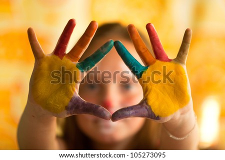 Hand Painted Child, little girl on background - stock photo