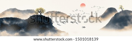Hand painted Chinese style artistic ink landscape painting