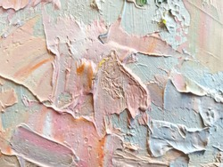 Hand painted delicate pastel colors beige abstract textured background with oil paint brush strokes.