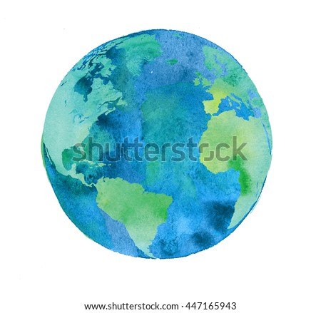hand painted Earth globe. watercolor artwork. round world aquarelle illustration.
