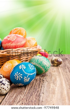 Hand painted easter eggs in basket