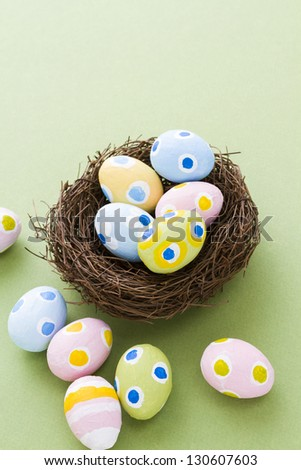 Hand painted Easter eggs with rought strokes of the brush.