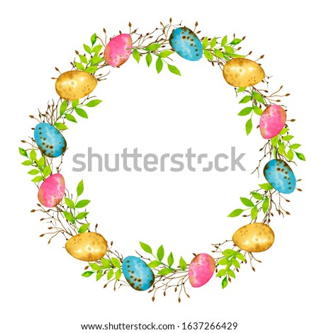 Hand painted easter wreath with greenery branches, color eggs. Watercolor illustration. Happy easter, hello spring. Fresh spring composition. Perfect for cards, wedding invitations, banners, posters.  Photo stock ©