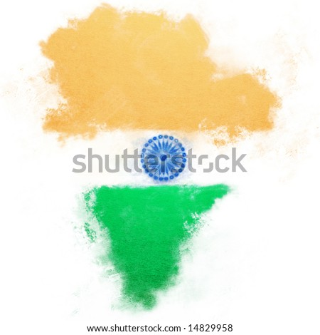 Hand painted flag in the shape of India.