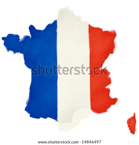 Hand painted flag of France shaped as the country.