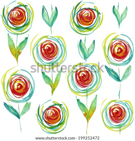 Hand painted flower background seamless pattern