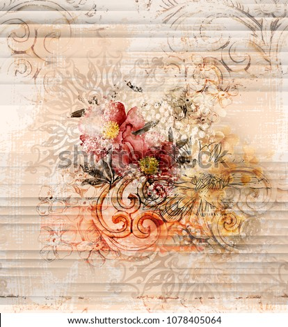 hand painted flowers with ethnic and geometric elements on abstract background