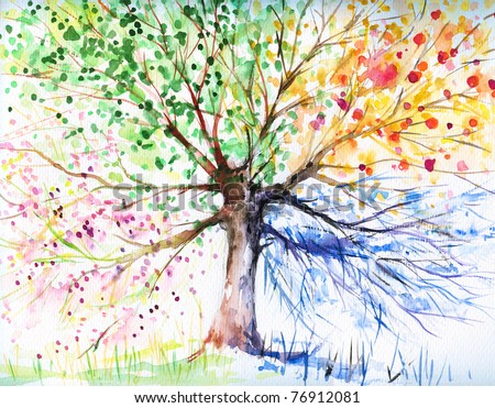 Hand painted illustration of four season tree.Picture I have created with watercolors.