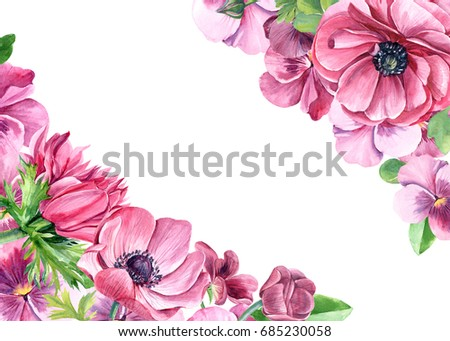 Hand painted illustration with pink pansy and anemones flowers hand painted illustration with pink pansy and anemones flowers leaves and branches isolated on white mightylinksfo
