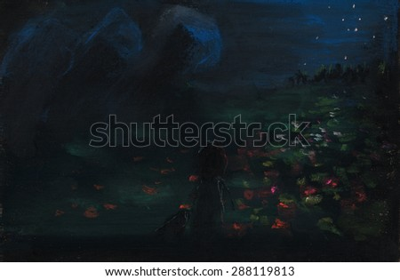 Stock Photo Hand painted image of night scene with a child and field of flowers
