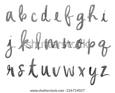 ... Calligraphy Letters. Hand Brushed Modern Calligraphy Alphabet Stock