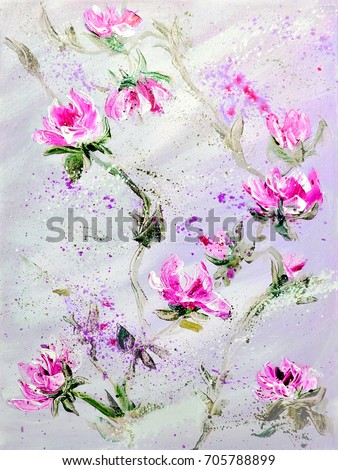 Hand painted modern style Pink and Red flowers. Spring flower seasonal nature background. Oil painting floral texture