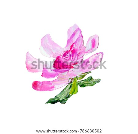Hand painted modern style purple flower isolated on white background. Spring flower seasonal nature card. Oil painting