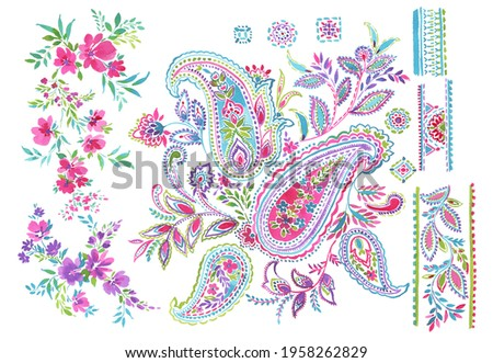 hand painted multicolor bright contrast ethnic paisley set with flowers and borders on white background. oriental ornamental paisley set. isolated.