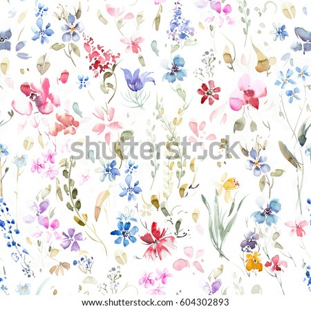 Hand painted multicolor watercolor allover seamless flowers and plants on a white background