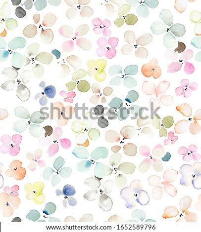 Hand painted multicolor watercolor allover seamless spring daisy liberty flowers