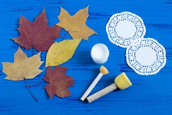Hand-painted on dry autumn leaves by dint of paper lace napkin. Children's art project. DIY concept. Step by step photo instructions. Step 1. Preparation of materials and tools
