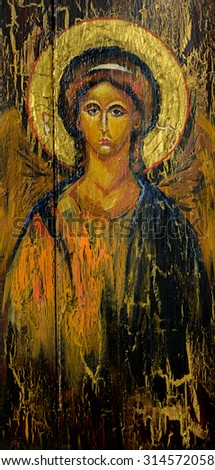 Hand painted picture of archangel Michael styled on the old orthodox icon. Zdjęcia stock ©