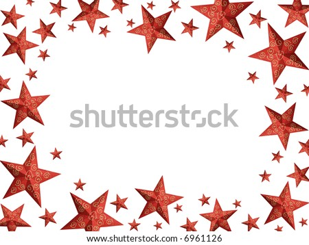 Hand painted red Christmas stars with granular surface forming a frame (isolated)