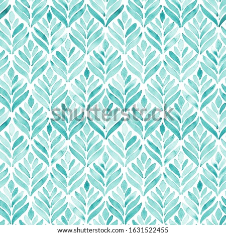 Hand painted turquoise watercolor leaf like arabesque floral geometrical shell allover seamless pattern in repeat