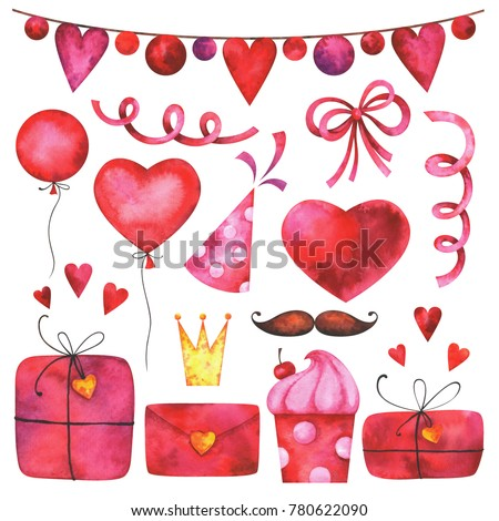 Hand painted Valentine's day clip art set. Watercolor party collection of hearts, gift boxes, festive garlands, balloons, cake, bow, hat cone. Lovely design elements isolated on white background