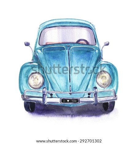 hand painted vintage blue car....