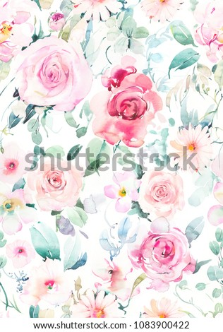 Stock Photo Hand painted watercolor allover seamless rose and daisy flowers with leaf on a white background in repeat