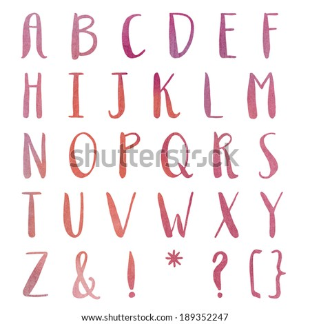 Hand Painted Watercolor Alphabet. Alphabet Letters. Colorful Letters. ABCs.