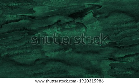 Hand painted watercolor background. Black blue green abstract art background. Dark turquiose aquarelle background with copy space for design.