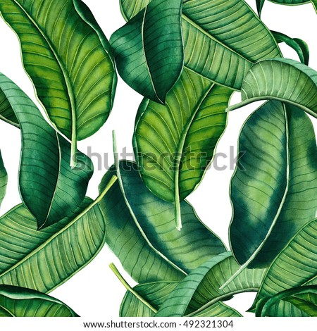 hand painted watercolor botanical leaves pattern, seamless tropical pattern, ornament for interior,textile design