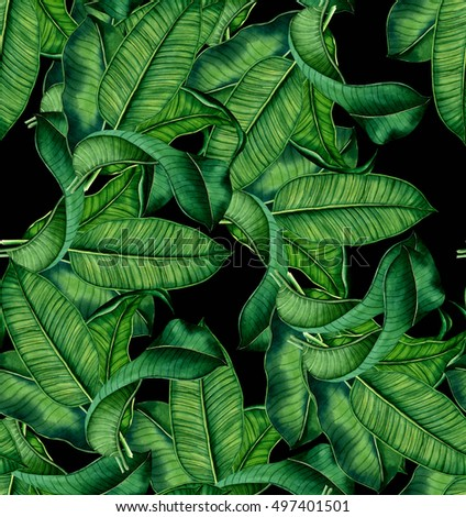 hand painted watercolor botanical leaves pattern, seamless tropical pattern, ornament for interior,textile design #497401501