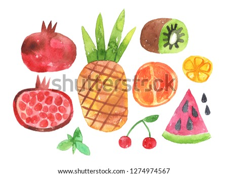 Hand painted watercolor colorful set of tropical fruits. - Illustration with clipping mask