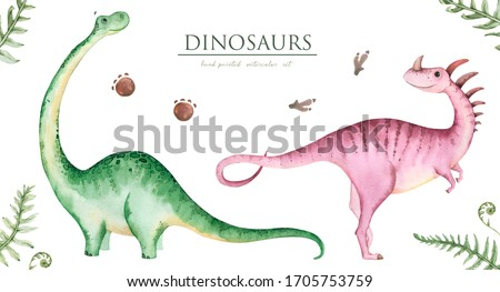 Hand painted watercolor cute dinosaurs, isolated on white background. The illustration is perfect for creating postcards,printed fabrics, packaging and DIY design.